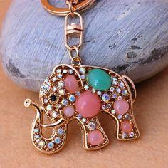 New Rhinestone elephant keychain Charm Pendent Crystal Purse Bag Key Chain Gift