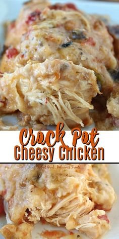 This Crock Pot Cheesy Chicken is so delicious, cheesy and has amazing flavor. A chicken recipe that is to die for. #chicken #cheese #crockpot #slowcooker #delicious #greatgrubdelicioustreats