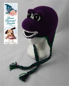 Crochet Pattern 050 - Purple Dinosaur Beanie Hat - All Sizes    You are purchasing the pattern to make this item and not the finished product. The