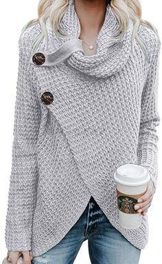 Asvivid Chunky Turtle Cowl Neck Pullover Sweater for Womens Thick Big Button Asymmetric Wrap Knitted Sweaters Jumper S Grey Wrap Sweater, Sweater Coats, Knit Cardigan, Pullover Sweaters, Jumper, Workout Leggings With Pockets, Long Sleeve Turtleneck, Cowl Neck, Turtle Neck