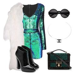"""""""New year who dis ?"""" by tenacious-t ❤ liked on Polyvore featuring Giuseppe Zanotti, Yves Saint Laurent, Chanel, Dolce&Gabbana, Beyonce, NewYearsEve and newyear"""