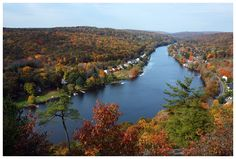 View of the Housatonic River in the fall. Seymour, CT.