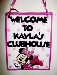 Minnie Mouse Die Cut Door Sign in Pink by SilverOrchidGraphics, $8.00