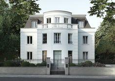 contemporary neoclassical architecture home New Classical Architecture, Classic Architecture, Architecture Details, Facade Design, Exterior Design, Classic House Design, Classic Building, English House, White Houses