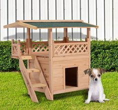 Wooden Pet House Cat Room Dog Puppy Large Kennel Indoor Outdoor Shelter w/ Roof  #PawHut