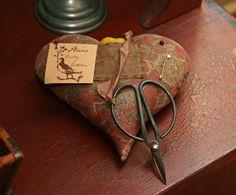 Old Stuffed Heart Pinkeep & Scissors.