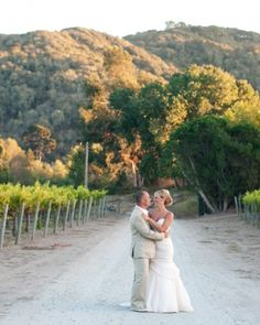 "This bride fell for the ""intimate but still earthy"" feel of hosting the reception in the vineyards at Chateau Julien"
