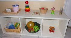 Montessori shelf set up for 10 month old