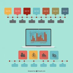 Vector flat infographic technology design Free Vector