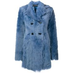 Rochas shearling coat (5 265 AUD) ❤ liked on Polyvore featuring outerwear, coats, blue, long sleeve coat, sheep fur coat, blue coat, double breasted coat and shearling coat