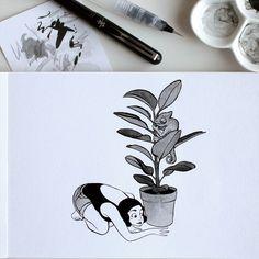 Inktober 6: Caché. Partie de cache-cache. Et vous, vous l'avez trouvé?  Inktober 6: Hidden. Game of hide and seek. And you, did you found him?  #inktober #inktober2016 #drawingchallenge #inking #ink #drawing #illustration #artistsoninstagram #art #sketch #sketchbook #pentel #pentelbrushpen #cameleon #chameleon #plant #ficus