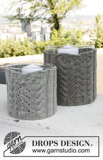 """Set consists of: Knitted DROPS large and small cover for glass vase with cables and lace pattern in """"Merino Extra Fine"""". ~ DROPS Design"""