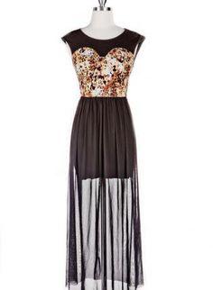 dress with sheer long skirt   Leopard Bodice Dress with Long Sheer Skirt Overlay on Wanelo