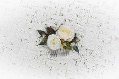 Flower Comb White flower comb wedding comb White Bridal | Etsy