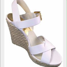 """MICHAEL Michael Kors Viola Espadrilles Brand new never worn. Espadrille wedge. 4 3/4"""" wedge, 1"""" platform. Leather lining. Rubber outsole. Buckle closure. Leather upper. MICHAEL Michael Kors Shoes Espadrilles"""