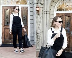 Ray Ban Sunglasses, The Kooples Shirt, Daniel Wellington Watch, Céline Bag, Topshop Dungarees, Adidas Sneakers