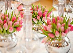 Tulips for the table - from florist recommended by The Gun Gallery - Karen Woolven Floral Design