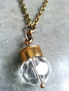 Crystal Shotgun Shell Necklace by boucoujewelry on Etsy. Oh this would be soooo easy to make! Bullet Shell Jewelry, Shotgun Shell Jewelry, Bullet Casing Jewelry, Ammo Jewelry, Bullet Ring, Bullet Earrings, Spoon Jewelry, Metal Jewelry, Jewelry Crafts