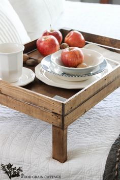 Breakfast In Bed Tray- Perfect farmhouse touch for organizing too! by The Wood Grain Cottage Breakfast In Bed Tray- Perfect farmhouse touch for organizing too! by The Wood Grain Cottage Breakfast Nook Table, Breakfast Bar Kitchen, Breakfast For Kids, Eat Breakfast, Morning Breakfast, Bed Tray Diy, Diy Bed, Bed Table, Kitchen