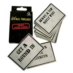 Stag night card game.  Have fun on your stag night with these 12 dare stag night game cards.  The pack also includes 12 blank stag night cards to make your own dares throughout the night so you can be as cheeky as you dare! £2.50