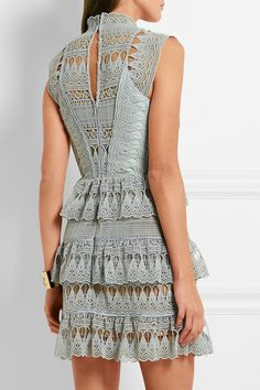 Pale-mint guipure lace  Concealed hook and zip fastening at back  97% polyester, 3% cotton; lining: 96% polyester, 4% spandex Hand wash   Imported