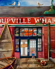 Coupeville Wharf on Whidbey Island Oregon Washington, Whidbey Island, Architecture, Watercolors, Painting, Artists, Pen And Wash, Arquitetura, Water Colors