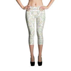 Printful Domino Tiles Capri Leggings White