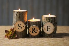 Set of 3 Personalized Rustic log tealight Candle Holders.) Wood Slice Tied on with Twine. Approx Measurements: - height diameter Can also be left blank. This set is unseale Rustic Wood Crafts, Wood Slice Crafts, Diy Wood, Wooden Crafts, Small Candle Holders, Rustic Candle Holders, Personalized Candles, Tree Crafts, Wood Slices