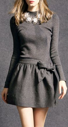 Bowknot Sweater Mini Dress