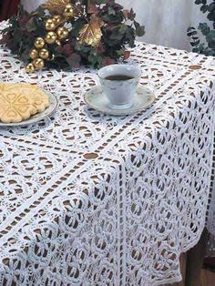 Crochet - For the Home - Kitchen Decor - Cherry Blossoms Tablecloth - #FC01128- free pattern