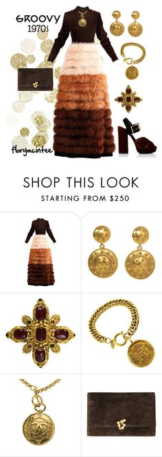 """""""1970s Vintage Couture Brown Velvet Marabou Feather Dress"""" by florymcintee ❤ liked on Polyvore featuring Chanel, Prada and vintage"""