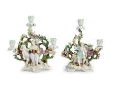 Two Meissen candelabra, late 19th century