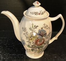 "Johnson Brothers Sheraton Coffee Pot 6 Cup 9"" Tall Vintage Floral Design England Ironstone Excellent"