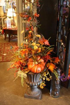 The White Hare. Fall decorating and floral arrangement ideas. by aileen The White Hare. Fall decorating and floral arrangement ideas. by aileen Fall Floral Arrangements, Candle Arrangements, Autumn Decorating, Decorating Pumpkins, Deco Floral, Deco Table, Thanksgiving Decorations, Thanksgiving Ideas, Fall Home Decor