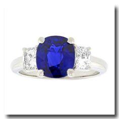 Inv. #16778  Sapphire and Diamond Ring Platinum c1970s American. Lawrence Jeffrey Estate Jewelers