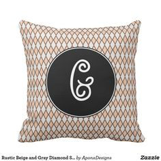 Rustic Beige and Gray Diamond Shape Pattern Pillow Beige, Gray, Rustic Design, Shape Patterns, Diamond Shapes, Decorative Throw Pillows, Fun, Accent Pillows, Grey