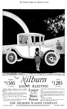 B&W version of the color full-page display ads taken out in 1916 for the Model 22 Brougham.