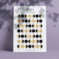 Calendrier lunaire 2021 à télécharger et imprimer, printable moon calendar 2021, witch - Ona creation - Idées cadeaux créateur Etsy - sorcière Bullet Journal 2, Page Setup, Moon Calendar, Bujo, Creations, Tarot, Cycle, Motifs, Free