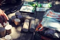 Upcycle old toilet paper rolls to make mini pots for seed sprouting and planting in the garden.  Great idea!
