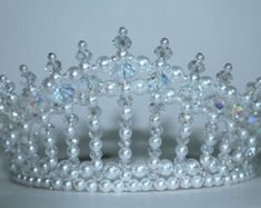 This tiara is just the thing for the little diva in your life. The tiara measures 3 inches or 8 cm at its highest peak and is adorned with 17 Hair Jewelry, Beaded Jewelry, Jewellery, Queens Tiaras, Birthday Tiara, Mermaid Crown, Diy Crown, Bridal Tiara, Tiaras And Crowns
