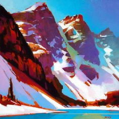 Artist: Mike Svob, Title: Approaching Mist I like the faces images I see in the mountains . Artwork Display, Cool Artwork, Landscape Art, Landscape Paintings, Lava, Seascape Paintings, Canadian Artists, Beautiful Paintings, Illustration Art