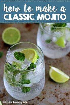 My version of a classic mojito - my all time favourite cocktail, perfect for summer, holidays or honeymoons! Make one or make a pitcher to serve a crowd! Bacardi Mojito, Bacardi Drinks, Fruity Cocktails, Summer Cocktails, Cocktail Drinks, Fun Drinks, Cocktail Recipes, Beverages, Mixed Drinks