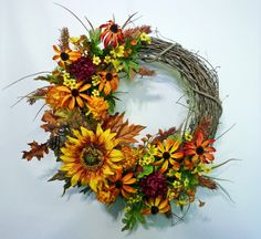 Sunflower and Mums Wreath Fall Wreath Front Door by Floralwoods, $55.00