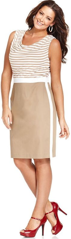 Spense Plus Size Dres, Sleeveless Striped Cowl-Neck with colorblock skirt #UNIQUE_WOMENS_FASHION