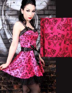 Hell Bunny Satin Gloria Dress :: Pink, flocked satin