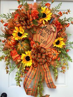 Fall Harvest Mesh Burlap Wreath by WilliamsFloral on Etsy