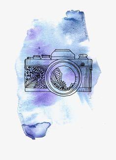 ручной камеры,линия фотоаппарат,акварель фотоаппарат,камера