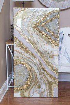 Resin Artwork, Resin Wall Art, Diy Resin Art, 3d Wall Art, Resin Crafts, Metallic Gold Paint, Fusion Art, Acrylic Pouring Art, Marble Art