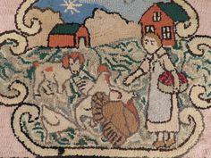 Antique Hooked Rug Folk Art Burlap Farm Red Barn Chicken Dog Rooster Turkey #Hooked
