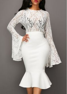 White Bell Sleeve Sheer Lace Top Peplum Hem Dress